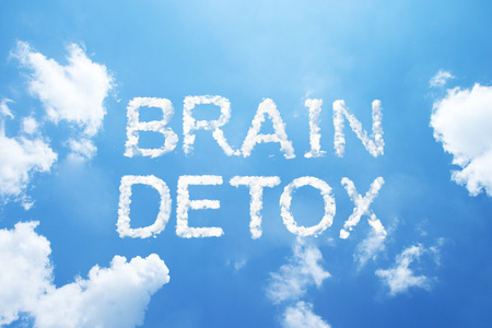 toxins: BRAIN DETOX cloud word on sky. Stock Photo
