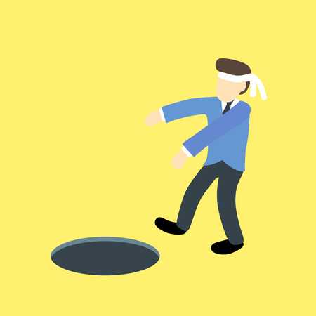 blindfold: Blindfold with businessman walk into the hole or trap