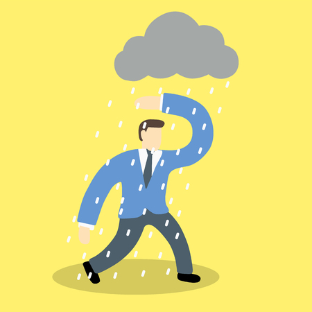 hard rain: Sad or Depressed  businessman walking in the rain