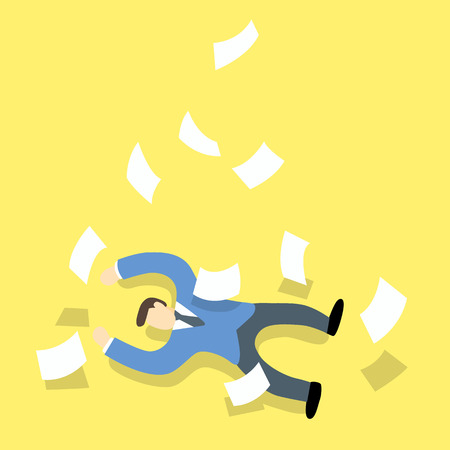 be ill: Businessman work hard then faint or be lying unconscious on the floor