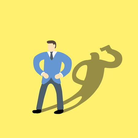 true self: Businessman with his shadow of suicide Illustration