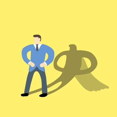 undercover: Businessman with superhero character in his shadow on background