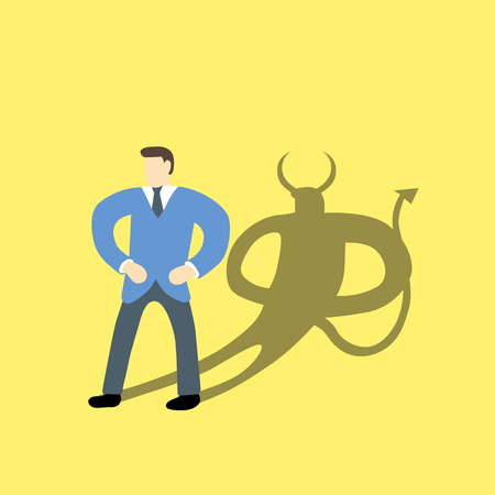 Businessman with devil or demon character in his shadow on background