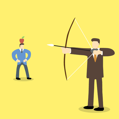 perspiration: Business executive holding bow and arrow aiming to shoot at apple on another mans head