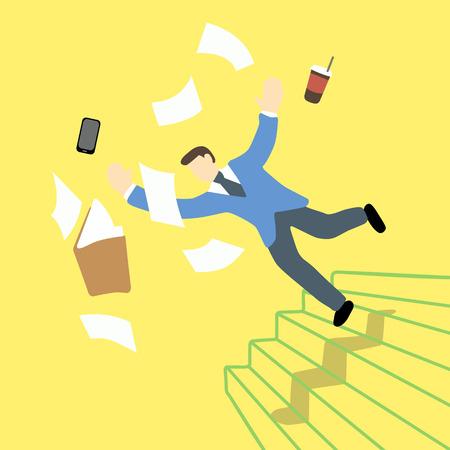 El hombre de negocios está perdiendo el equilibrio y cayendo en la escalera mientras que la carpeta de archivos y la tableta está en el aire