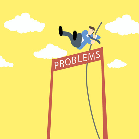 Businessman doing pole vaulting with problems as a name of barrier
