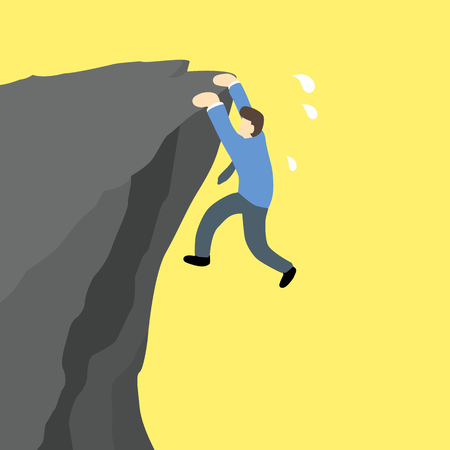 disastrous: businessman is hanging and try to climb on the edge of a cliff. Illustration