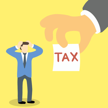 collector: Businessman in stress and headache because tax collector handling him a note with word tax on it