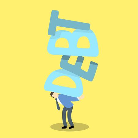 carga: hombre de negocios llevar la palabra de la deuda en la espalda