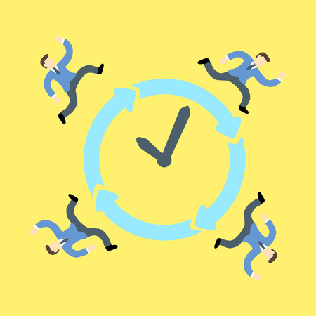 all: Businessmen racing against time around a clock and all day all night Illustration