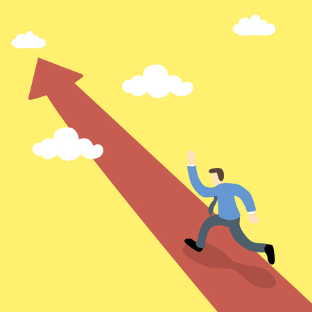 happy worker: business executive running on on the pathway of red arrow toward the sky Illustration