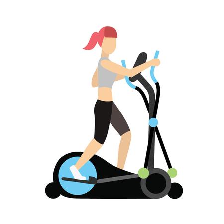elliptical cross trainergirl. Illustration