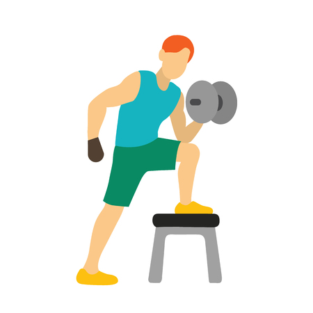 weight training: barbell weight training man vecto.