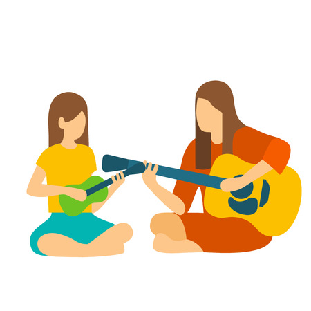 playing music: Girl learning to her teacher Play the Guitar. Illustration