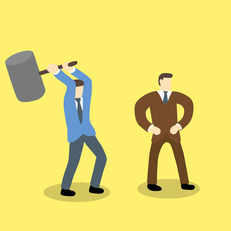 businessman holding mallet hammer try to hurt another businessman