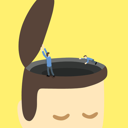 couching: businessmen open and explore around black hole or area on the opened head of a giant man.