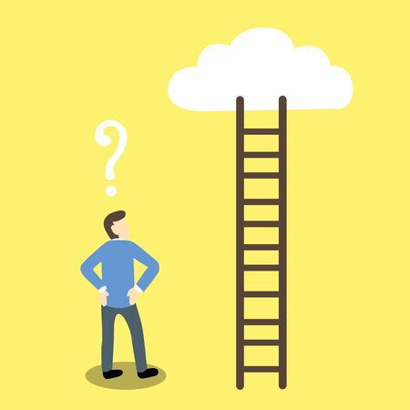 hesitation: Cartoon illustration businessman with a question mark above his head is looking at a ladder which lead to cloud or dream