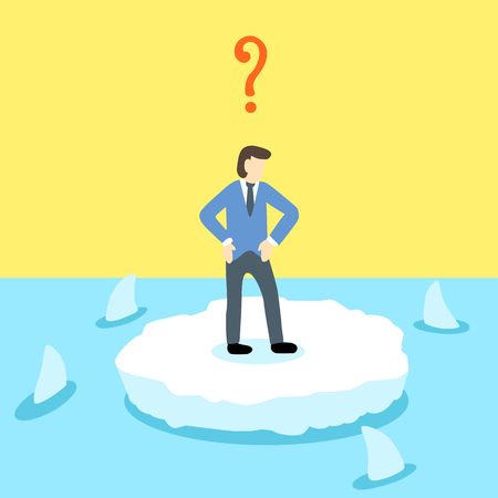 circling: Helpless businessman stand alone on a small ice land which surrounded by sharks swimming in the sea