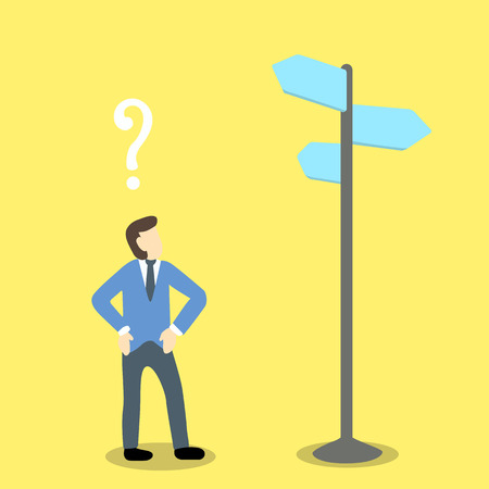 above head: illustration of businessman standing under direction sign with question mark above his head. Illustration