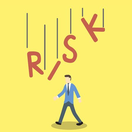 high damage: Conceptual illustration of businessman in danger by the RISK word is falling on his body Illustration