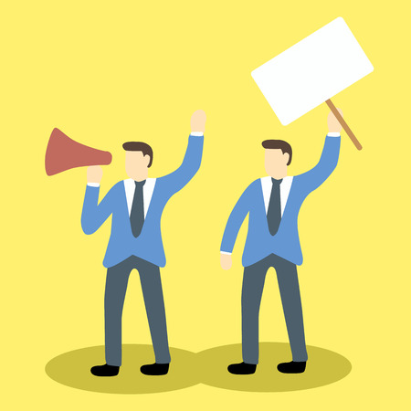 social issues: businessmen are protesting with megaphone and blank placard holding. Cartoon illustration concept for social issues Illustration