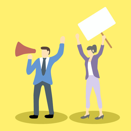 workers rights: businessman and businesswoman are protesting with megaphone and blank placard holding. Cartoon  illustration concept for social issues Illustration