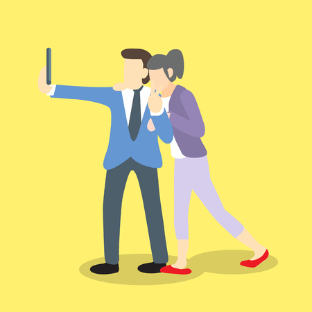 colleague: businessman selfie with businesswoman as girlfriend or friend or colleague Illustration