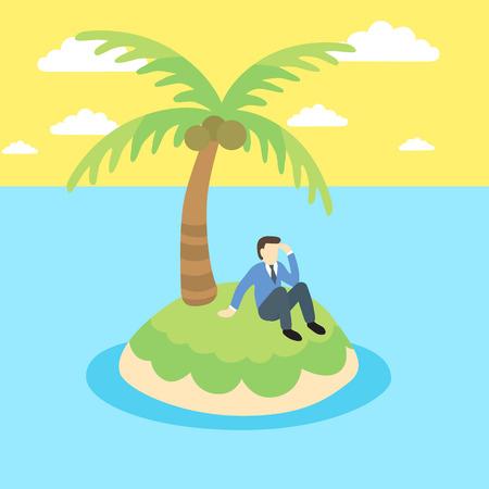 Biznes człowiek siedzi na bezludnej wyspie.