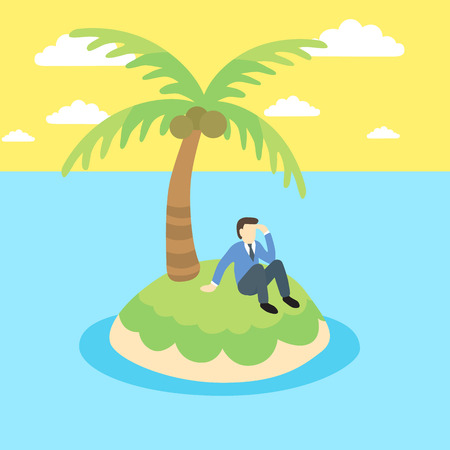doomed: Business man sits on a desert island.