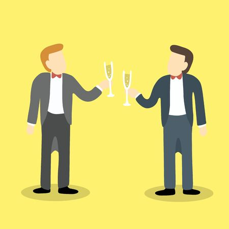 clinking: Two businessmanclink glasses of champagne to celebrate a success partnership or special event.