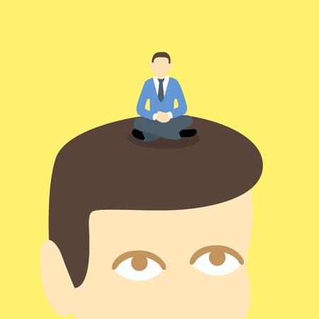 meditation man: meditation man relaxing on the big head amazed man.