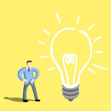 idea bulb: Businessman get big  idea bulb.