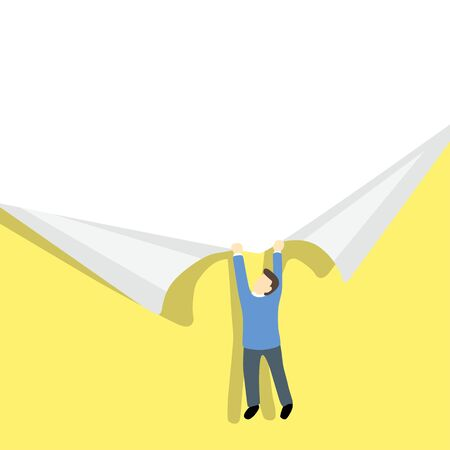 uncovering: small businessman ripping paper. Paper ripping yellow paper background with place for your text or image. illustration. Illustration