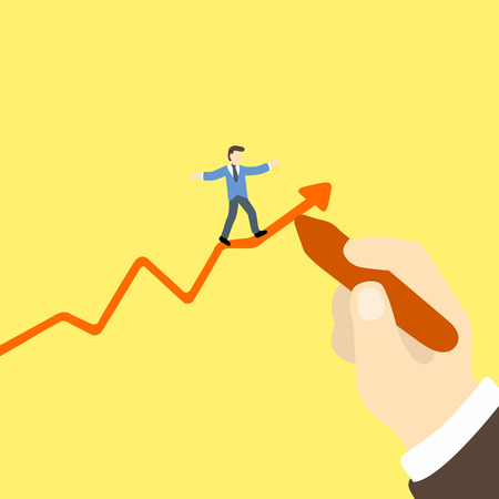 carefully: businessman walking carefully on arrow graph