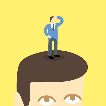 looking away: small businessman standing on head looking far away. Illustration