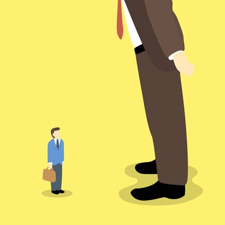 subordinate: different size of businessman. Illustration