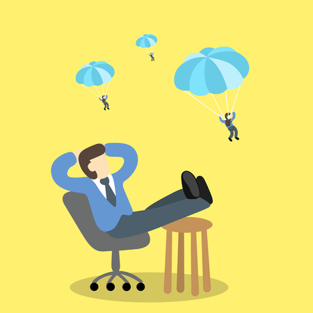 discretion: executive businessman sitting relaxed  looking for loser parachute. Illustration