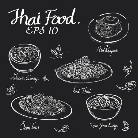 Tailandés comida tiza dibujar en el tablero negro de Padthai, Pad Krapow, curry verde, Somtum, ensalada de papaya, Tomyumkung en formato EPS 10 vector.