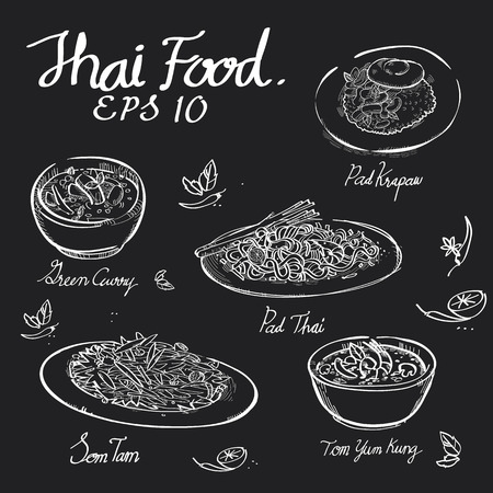Thai food chalk draw on black board of Padthai,Pad Krapow,Green Curry,Somtum,Papaya salad,Tomyumkung in EPS 10 vector format.