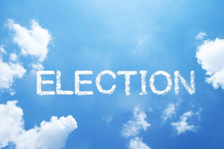 ELECTION cloud word on sky.
