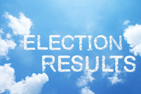 outcome: Election results cloud word on sky. Stock Photo