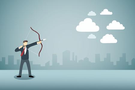 Homme d'affaires visant l'arc avec des flèches vers les nuages ??ou le cloud computing.