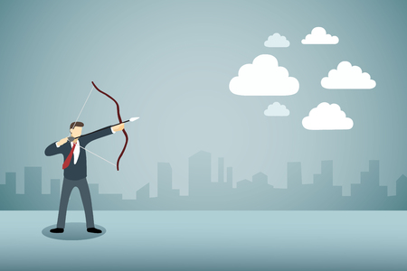 overcast: Businessman Aiming bow with arrow to clouds or cloud computing.