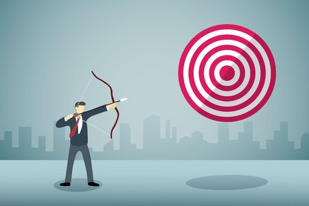 Businessman Aiming bow with arrow to arrow target. Illustration