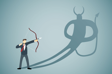 Businessman aiming his bow and arrow to his own devil shadow Illustration