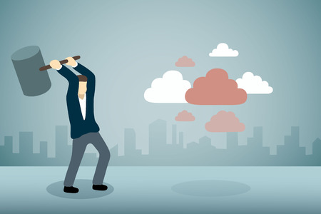 Businessman breaking group of cloud with hammer Illustration