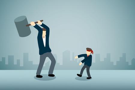 Businessman breaking blind man with hammer
