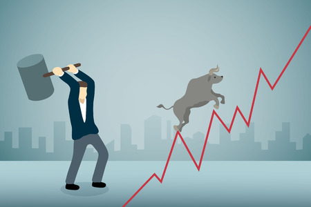 Businessman breaking bull runing on upward graph with hammer