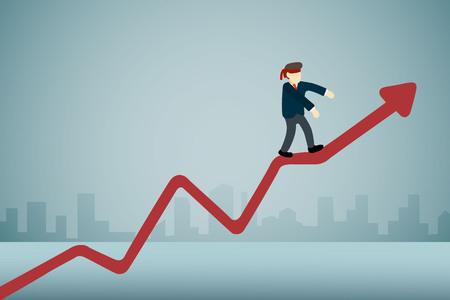 businessman with blindfold walking on upward graph. Illustration