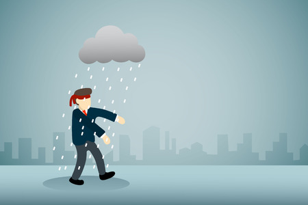 businessman with blindfold walking with rain cloud. Ilustração